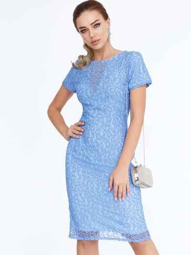Голубое платье-футляр из гипюра 52471, фото 1