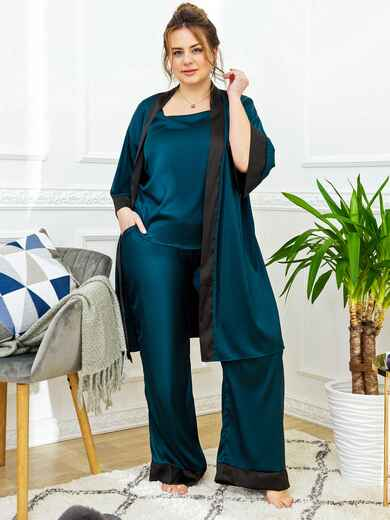Ночной комплект большого размера с брюками зеленый 53269, фото 1
