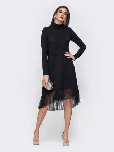 Платье-гольф с удлиненной спинкой и оборкой по низу чёрное 42769, фото 1