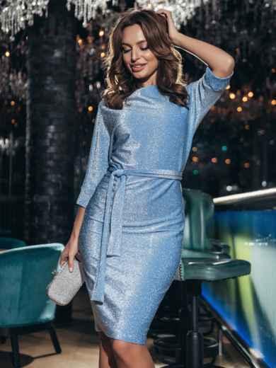 Платье из люрекса с цельнокроеным рукавом голубое 42759, фото 2
