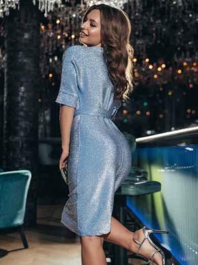 Платье из люрекса с цельнокроеным рукавом голубое 42759, фото 3
