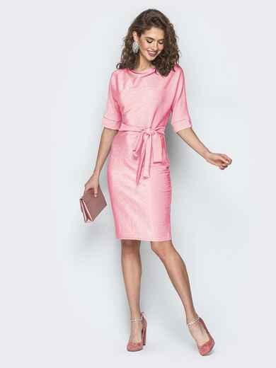 Платье из люрекса с цельнокроеным рукавом розовое 42758, фото 1