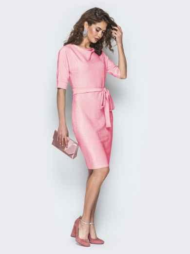 Платье из люрекса с цельнокроеным рукавом розовое 42758, фото 2