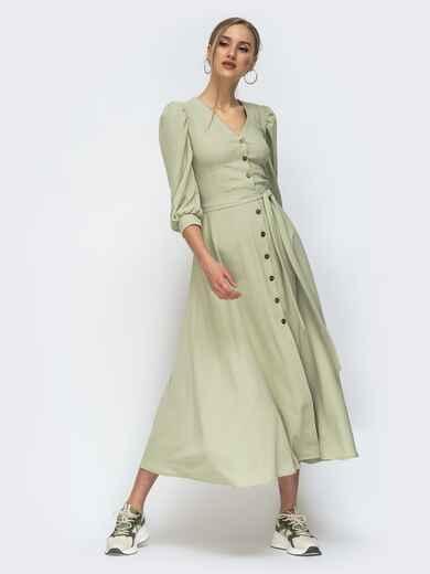 Платье на пуговицах с объёмными рукавами зеленое 45720, фото 1