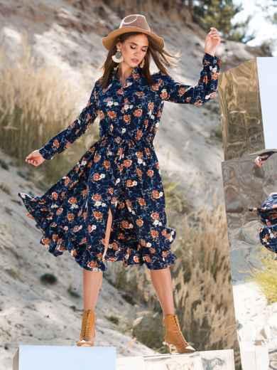 Принтованное платье тёмно-синего цвета с воланом - 41347, фото 2 – интернет-магазин Dressa