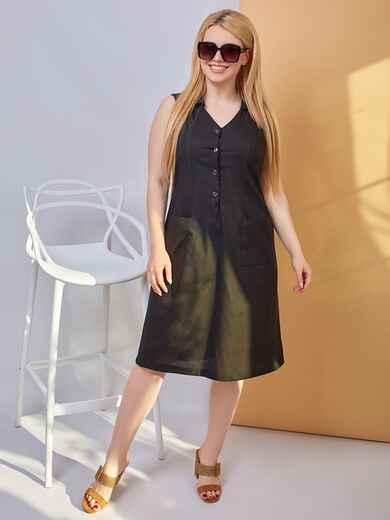 Приталенное платье батал чёрного цвета 47852, фото 1