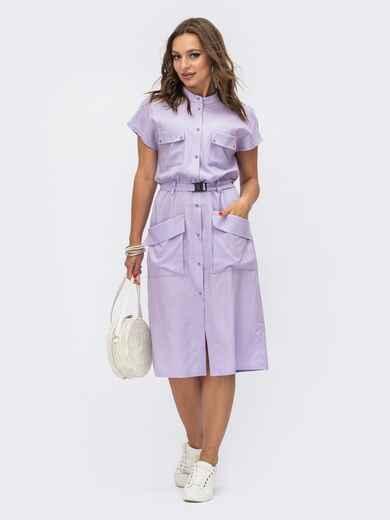 Сиреневое платье-рубашка прямого кроя 54106, фото 1