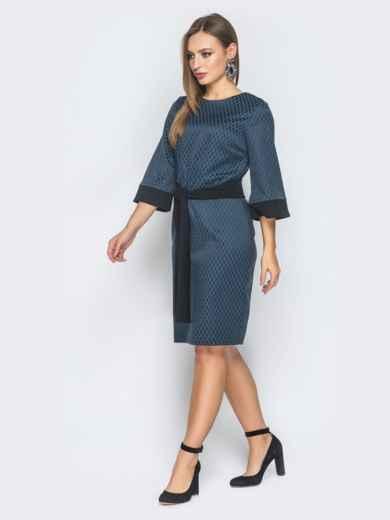 Тёмно-синее платье приталенного кроя с поясом в комплекте - 19033, фото 2 – интернет-магазин Dressa