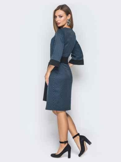Тёмно-синее платье приталенного кроя с поясом в комплекте - 19033, фото 3 – интернет-магазин Dressa
