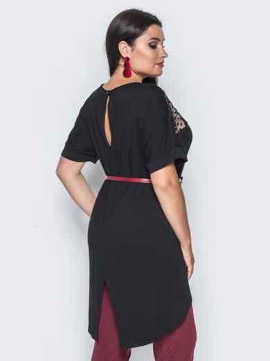Туника с цельнокроеным рукавом и фатиновой вставкой черная - 14536, фото 2 – интернет-магазин Dressa