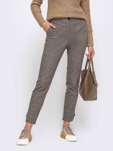 Укороченные брюки из жаккарда со стандартной посадкой серые 50574, фото 1