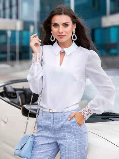 """Белая блузка с вырезом """"замочная скважина"""" 40072, фото 1"""