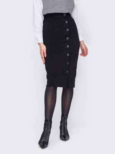 Чёрная юбка-карандаш с пуговицами спереди 53036, фото 1
