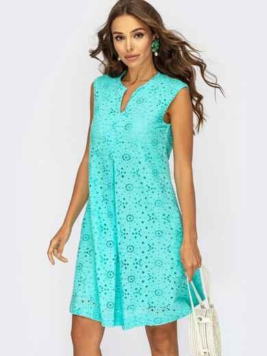 Бирюзовое платье-трапеция со встречными складками по полочке 54006, фото 1