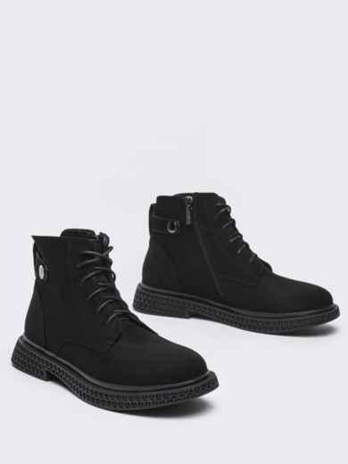 Демисезонные ботинки черного цвета с рифленой подошвой 50460, фото 2