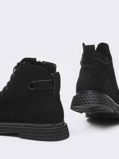 Демисезонные ботинки черного цвета с рифленой подошвой 50460, фото 4