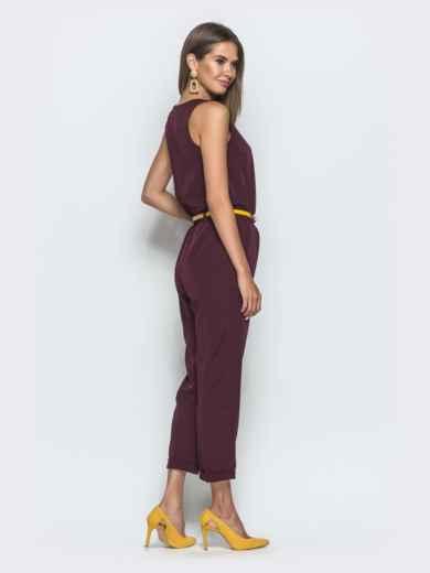 Комбинезон бордового цвета с укороченными брюками 39786, фото 2