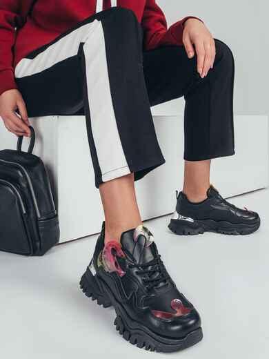 Кроссовки из искусственной кожи со вставками чёрные 50456, фото 1