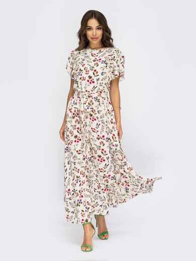 """Платье молочного цвета в цветочный принт с рукавом """"крылышко"""" 54008, фото 1"""