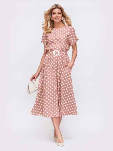 Платье в горох с расклешенной юбкой розовое 49736, фото 2