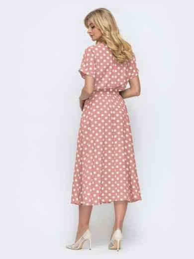 Платье в горох с расклешенной юбкой розовое 49736, фото 3