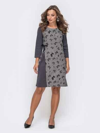 Приталенное платье с принтом серое 41591, фото 1