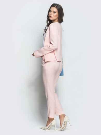 Розовый комплект из жакета и укороченных брюк 39662, фото 2