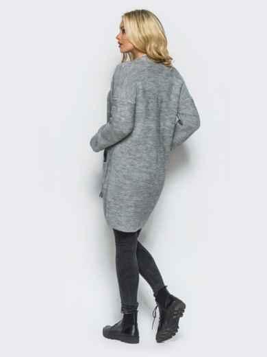 Серый вязаный кардиган с карманами на полочке - 15885, фото 2 – интернет-магазин Dressa