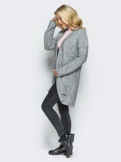 Серый вязаный кардиган с карманами на полочке - 15885, фото 3 – интернет-магазин Dressa