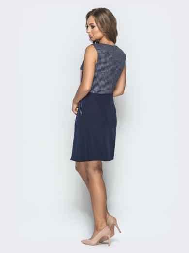 Тёмно-синее платье в белую клетку с юбкой-трапецией 39789, фото 3