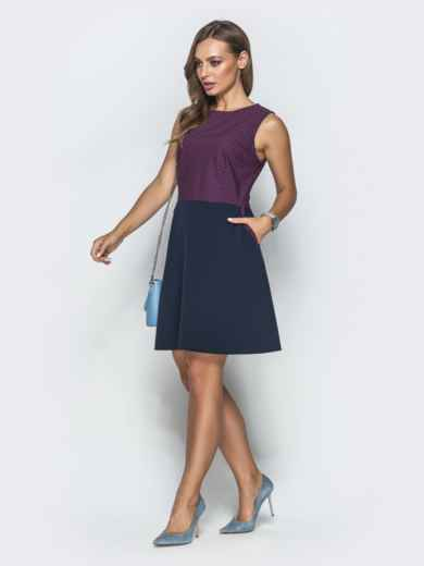 Тёмно-синее платье в розовую клетку с юбкой-трапецией 39790, фото 2