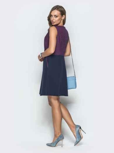 Тёмно-синее платье в розовую клетку с юбкой-трапецией 39790, фото 3