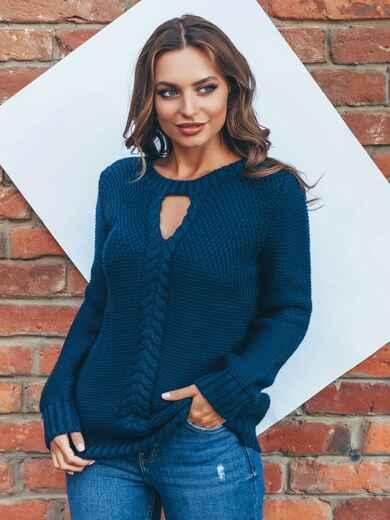 Тёмно-синий джемпер с объёмным узором и вырезом на полочке - 15807, фото 1 – интернет-магазин Dressa