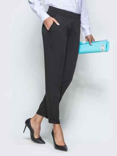 Укороченные брюки с резинкой по талии чёрные 39780, фото 2