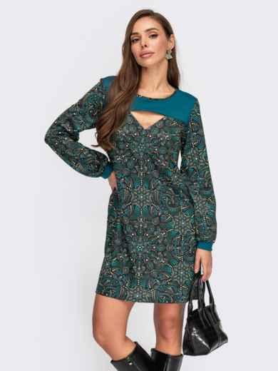 Короткое платье-трапеция с принтом и вырезом бирюзовое 55518, фото 1