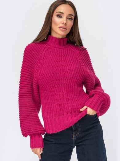 Вязаный свитер с обьёмными рукавами и фактурными полосами розовый 55578, фото 1