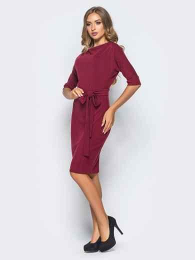 Бордовое трикотажное платье с поясом в комплекте - 15683, фото 2 – интернет-магазин Dressa