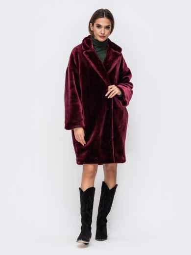 Демисезонная шуба в стиле oversize бордовая - 41761, фото 2 – интернет-магазин Dressa