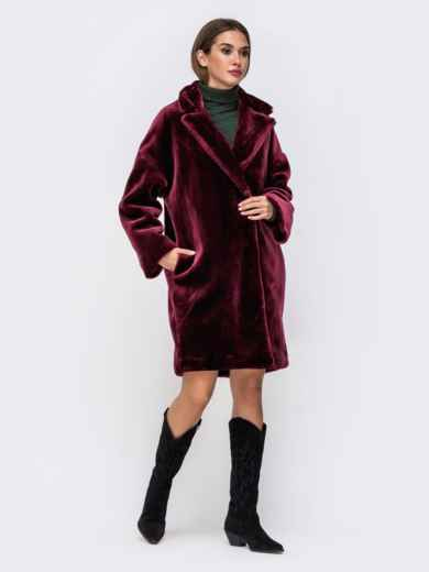 Демисезонная шуба в стиле oversize бордовая - 41761, фото 3 – интернет-магазин Dressa