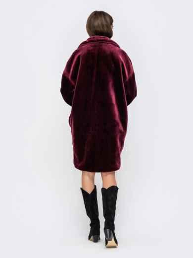 Демисезонная шуба в стиле oversize бордовая - 41761, фото 4 – интернет-магазин Dressa