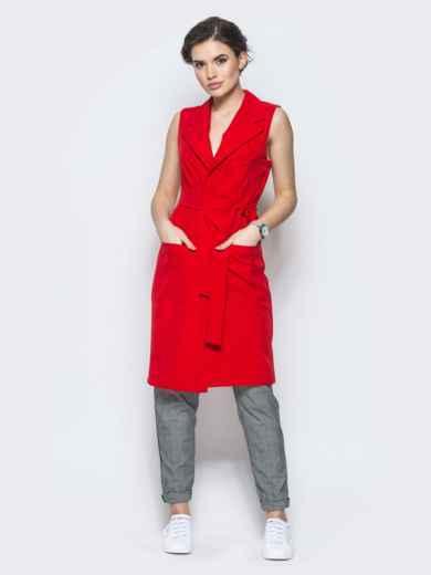 Длинный жакет с накладными карманами красный - 12835, фото 2 – интернет-магазин Dressa