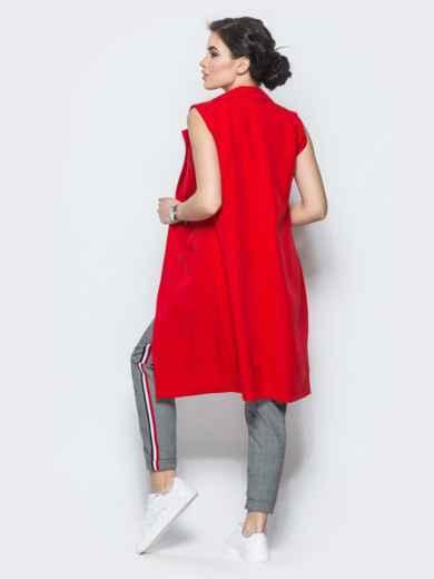 Длинный жакет с накладными карманами красный - 12835, фото 3 – интернет-магазин Dressa