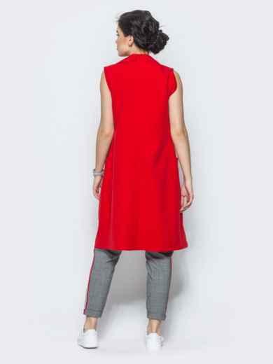 Длинный жакет с накладными карманами красный - 12835, фото 4 – интернет-магазин Dressa