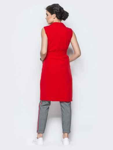 Длинный жакет с накладными карманами красный - 12835, фото 5 – интернет-магазин Dressa