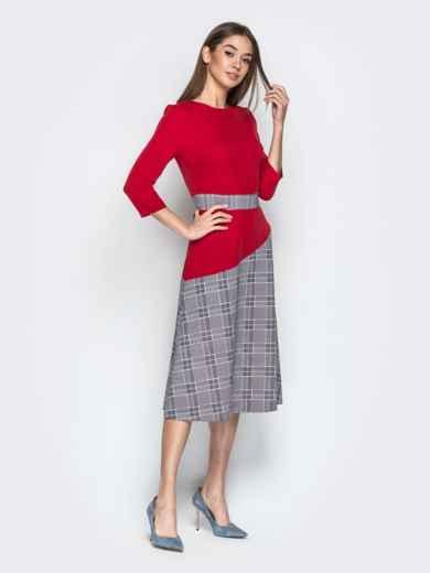 Красное платье приталенного кроя с контрастными вставками - 21333, фото 2 – интернет-магазин Dressa