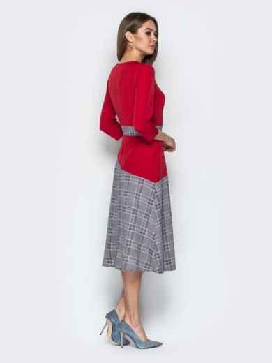 Красное платье приталенного кроя с контрастными вставками - 21333, фото 3 – интернет-магазин Dressa