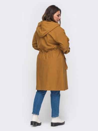 Плащ большого размера со вшитым капюшоном коричневый 50760, фото 2