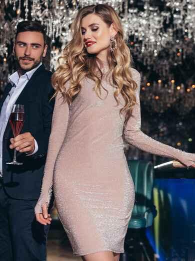 Платье-мини с люрексом пудрового цвета - 42663, фото 1 – интернет-магазин Dressa