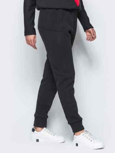 Спортивные штаны черного цвета на флисе - 17371, фото 2 – интернет-магазин Dressa