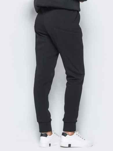 Спортивные штаны черного цвета на флисе - 17371, фото 3 – интернет-магазин Dressa